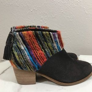 Toms brown suede multicolor yarn detail boots  7.5